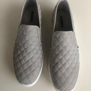 Grey faux nubuck leather quilted slip on loafers